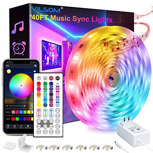 40FT Led Strip Lights, ViLSOM Smart APP and Remote Control Music Sync Led Lights Strip for Bedroom, Ceiling, Party, Home…