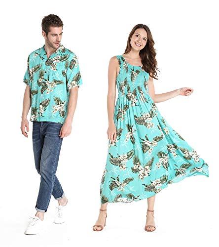 2571b73ca02e Couple Matching Hawaiian Luau Aloha Shirt Maxi Tank Dress in Palm Green
