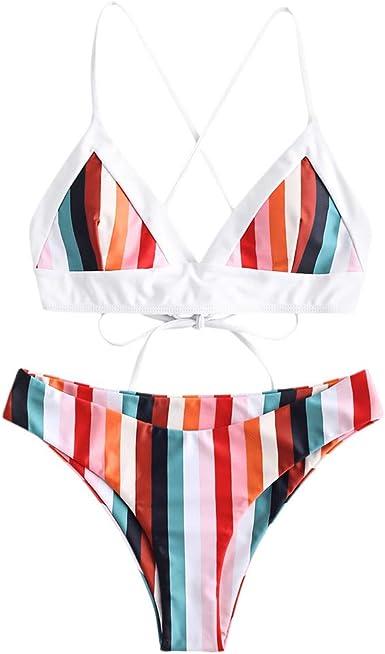 Women Ladies Bikini Set High Leg Colorful Striped Swimsuit Bathing Suit Swimwear