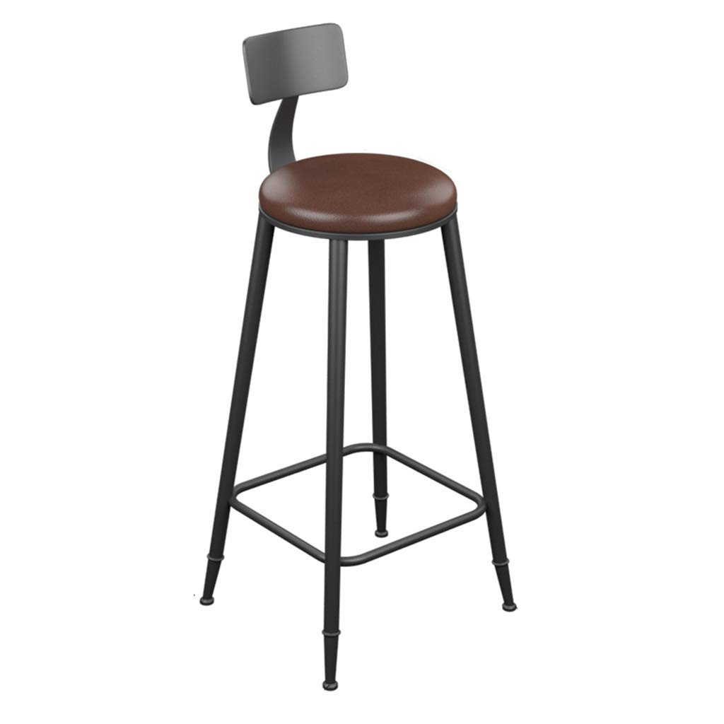 Leather pad 78cm DingHome-ca Barstools - Wrought Iron Wood Counter Stool Bar Stool Seat and Backrest, Modern Industrial Retro