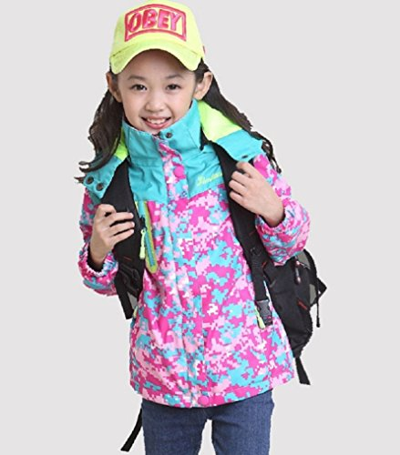 Bakerdani Girls Casual Jacket Floral Zipper Hooded Coat Removable Two-piece Suit by Bakerdani (Image #4)