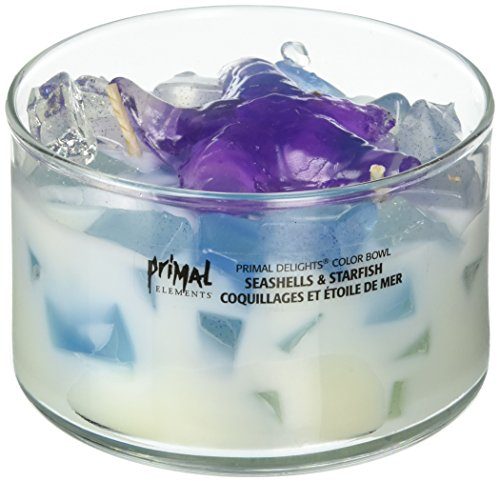 Primal Elements Color Bowl Candle Seashells & STARFISH