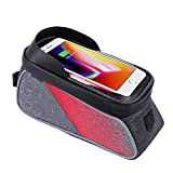 Cherlvy Mountain Bike Front Beam Upper Tube Bag Waterproof Riding Bicycle Bag for Mobile Phones Below 6.0''