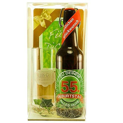 Bier Geschenk zum 55.Geburtstag Geburtstagsgeschenk fünfundfünfzigster Geburtstag Bier Geschenkset zum 55. Geburtstag