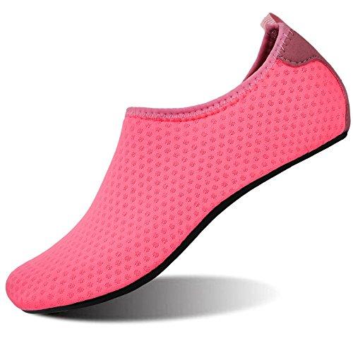 FEETCITY Womens Water Swim Shoes Lightweight Barefoot Mens Aqua Shoes for Beach Yoga Peach Mesh.