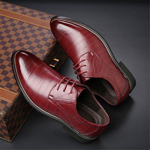 Planos con Zapatos Rojo de AARDIMI Caucho Hombre Cordones 6Sw577xqf