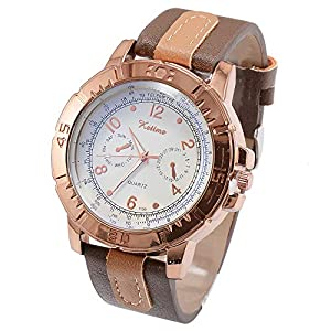 Star_wuvi Men's Business Fashion Leather Band Analog Simple Sport Quartz Wrist Watch (F)