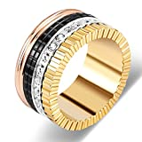 Yeemer Wedding Band Black and White Silver Gold Gear Ring with Diamonds and Ceramics (Black&gold, 8)