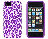 DandyCase 2in1 Hybrid High Impact Hard Purple Leopard Pattern + Purple Silicone Case Case Cover For Apple iPhone 5S & iPhone 5 (not 5C) + DandyCase Screen Cleaner