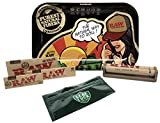 RAW Rolling Tray Small''RAW Brazil'' by JBatista, RAW Classic 1 1/4, King Size Slim, King Size Supreme, with Cigarette Maker with Leaf Lock Gear Tobacco Pouch - 6 Item Bundle