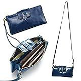 Bveyzi Women's Leather Smartphone Wristlet Clutch Wallet with Shoulder Strap (Blue)