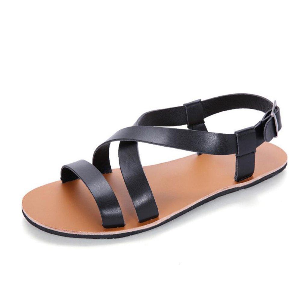 GAOLIXIA Sommer Sandalen Leder Männer Casual Sandalen und Hausschuhe Herren Strand Schuhe schwarz weiß braun (Farbe   schwarz, Größe   43)