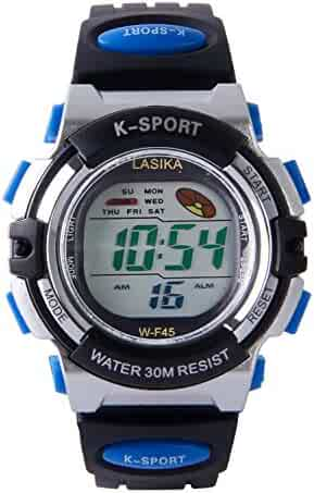 Hiwatch Kids Watch Boy Girls Digital Sport Waterproof Wrist Watches with Alarm Stopwatch Blue