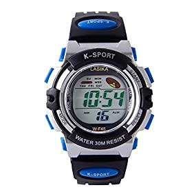 Hiwatch Kids Watch Boy Girls Digital Sport Waterproof Wrist Watches with Alarm Stopwatch Blue