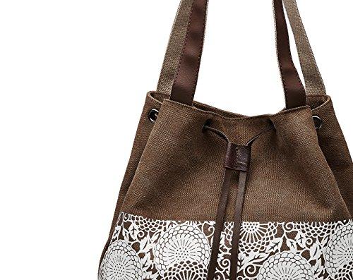 Bvane Damen Handtasche Canvas Schultertasche Umhängetasche Damen Shopper Tasche Schöne Vintage itytasche mit Modernes Blumenmuster -170619(Braun)