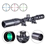 Pinty 3-9X40 Rifle Scope AO Red Green Blue Illuminated Mil Dot with Flip-Open Covers & Sunshade Tube For Sale