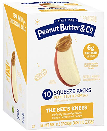 Peanut Butter & Co. The Bees Knees (Honey) Peanut Butter Squeeze Packs, Gluten Free, 1.15 oz (Pack of 20)