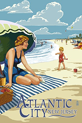 Atlantic City, New Jersey - Woman on the Beach (9x12 Art Print, Wall Decor Travel Poster) ()