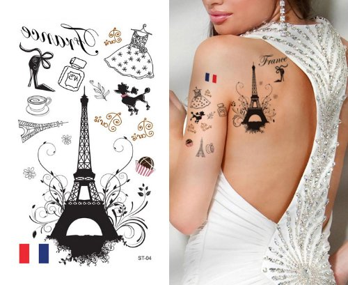 Supperb Temporary Tattoos - I Love Paris, France Eiffel Tower - France Pool Shop