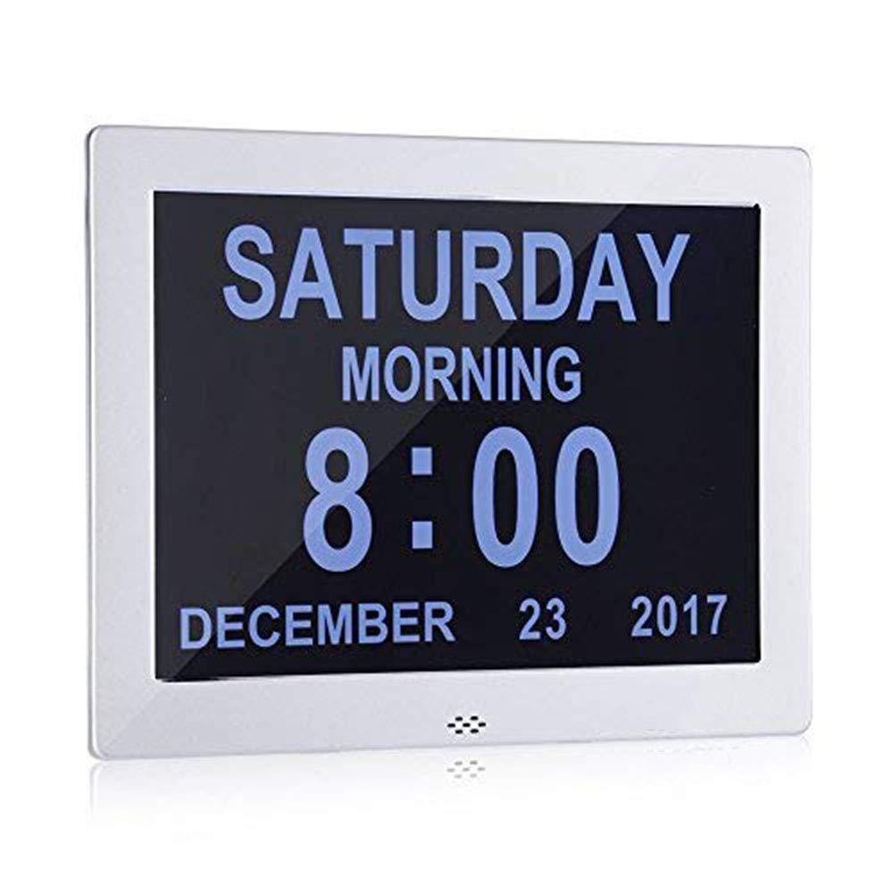 CHESUN Reloj de día Calendario Digital, Gran Reloj Digital con discapacidad Visual LCD Calendario Calendario día y Marco de Fotos Digital, Extra Grande día ...
