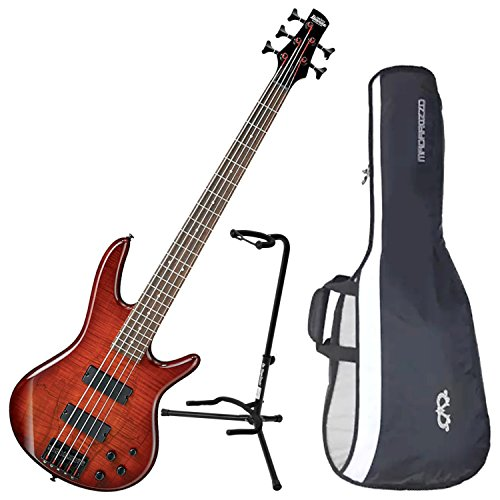 Ibanez GSR205SMCNB 5-String Electric Bass Charcoal Brown Spalted Maple Top w/ Gig Bag and Stand (Stand Ibanez)
