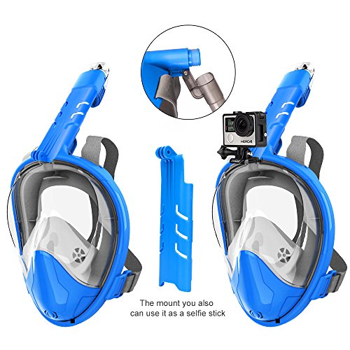 Snorkel Rock Snorkel Mask Anti-Fog Anti-Leak, 180°Panoramic Full Face Design with Wide Viewing Area for GoPro (Blue S.M)