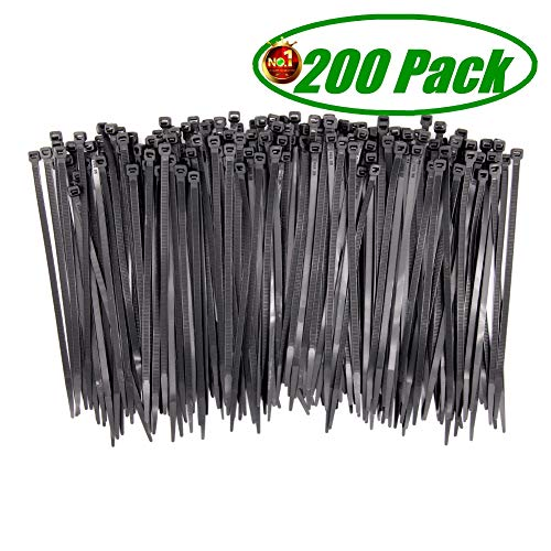 Wide Strong Heavy Duty 200 Pcs Black Cable Ties 8 Inch, Premium Upgrade Durable 75 LBS Strength, UV Resistant Nylon Self-Locking Zip Ties by HAODE FASHION from HAODE FASHION