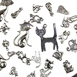 25 pcs Mixed antique Silver Cats and Kitties, Charms and Pendants
