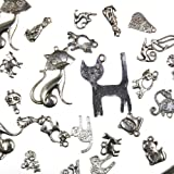 love kitty gems - 25 pcs Mixed antique Silver Cats and Kitties, Charms and Pendants