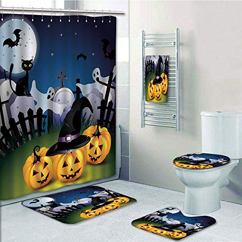 Bathroom 5 Piece Set shower curtain 3d print,Halloween,Funny Cartoon Design with Pumpkins Witches Hat Ghosts Graveyard Full Moon Cat Decorative,Multicolor,Bath Mat,Bathroom Carpet Rug,Non-Slip,Bath To -