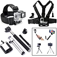 QKOO Accessories Kit Bundle for Gopro Hero4 Black/Silver HD Hero 4/3+/3/2/1 SJ4000 SJ5000 Camera Smartphone iPhone Samsung Sony HTC LG, in Diving Surfing Skiing Climing Cycling Yachting Snowboarding Ice Skating Sledding Snowmobiling Parachuting Rowing Running Camping Swimming Climbing Bike Riding Outing Any Other Outdoor Sports, Chest Belt Strap Mount Harness + Head Belt Strap Mount + Extendable Selfie Handle Monopod Stick + J-Hook + Tripod Mount Adapter + Screw + Mini Tripod+ Phone Holder Mount