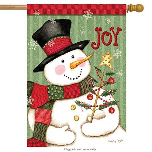 Briarwood Lane Snowman Joy Christmas House Flag Primitive Holiday 28