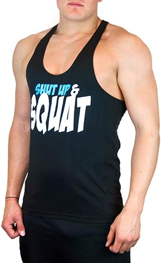 CoreX Fitness Mens Gym Vest Shut Up And Squat Print Black Workout Tank Top