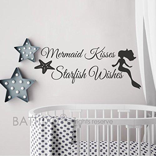BATTOO Girls Room Wall Decal Mermaid Wall Sticker Starfish Wall Decal Vinyl Lettering Baby Nursery Kids Room Wall Decor (9