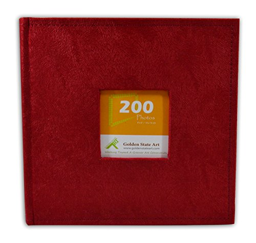 Golden State Art Photo Album, Holds 200 4''x6'' Pictures, 2 Per Page, Suede Cover, Cl55058-9 Red by Golden State Art