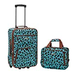 Rockland Luggage 2 Piece Set, Blue Leopard