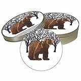 Paperproducts Design Pulpboard Coaster Set Featuring Winter Bear Design, 4 x 1'', Multi
