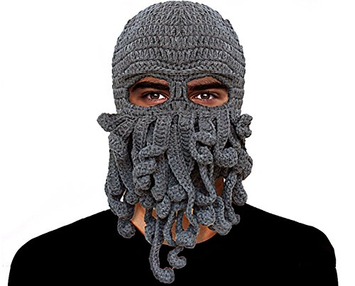 GIANCOMICS Funny Tentacle Octopus Beanie Crochet Knit Beard Hat Fisher Cap Wind Ski Mask Grey Fisher Cap