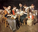 Cutler Miles Women Working On Pillow Lace by Giacomo Ceruti Hand Painted Oil on Canvas Reproduction Wall Art. 30x24