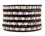 Chan Luu White Magnesite Crystal AB Wrap Bracelet on Brown Leather