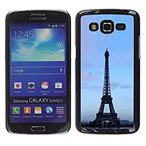Exotic-Star ( Architecture Eiffel Tower Blue Sky ) Fundas Cover Cubre Hard Case Cover para Samsung Galaxy Grand 2 II / SM-G7102 / SM-G7105