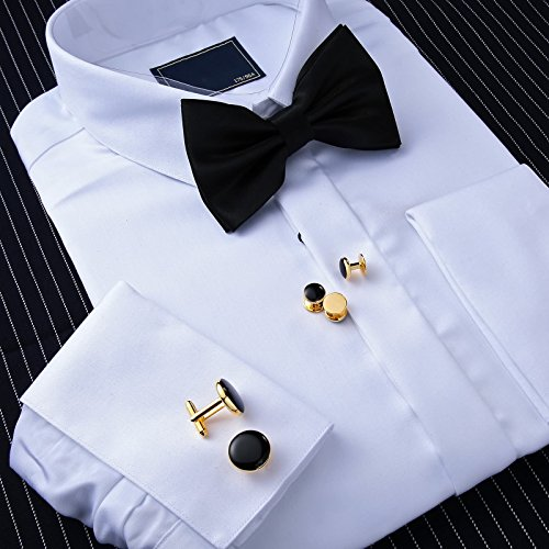 Aienid Cufflinks Black for Men Cufflinks and Studs Set Gold Stainless Steel Accessories Shirt Business by Aienid (Image #5)