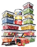 Food Storage Containers Set - Airtight Plastic Containers with Easy Snap Lids (16 Pack) - Leak Proof Kitchen & Pantry Containers - BPA-Free - 16 Chalkboard Labels & Marker - Chef's Path
