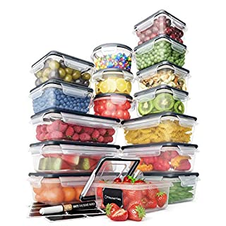 Food Storage Containers Set - Airtight Plastic Containers with Easy Snap Lids (16 Pack) - Leak Proof Kitchen & Pantry Organization - BPA-Free - 16 Chalkboard Labels & Marker - Chef's Path