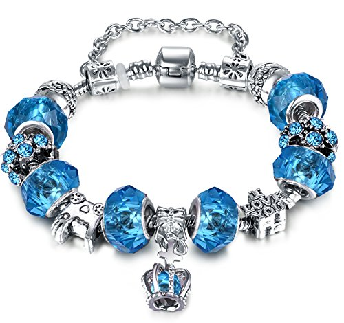 [Christmas' Day Gifts European Hot Fashion Style Blue Glass Beaded Silver Plated Diy Charm Bracelets for Women Teen Girls( 7.8inch/20cm] (Indian Beaded Bracelet)