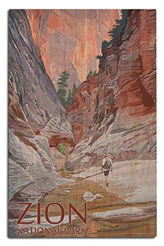 Lantern Press Zion National Park, Utah - Slot Canyon (12x18 Wood Wall Sign, Wall Decor Ready to Hang) (Best Slot Canyon Hikes Utah)