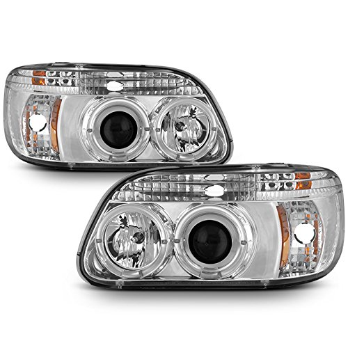 For Ford Explorer Chrome Clear Dual Halo Ring LED 1pc Design Projector Headlights Front Lamps Replacement