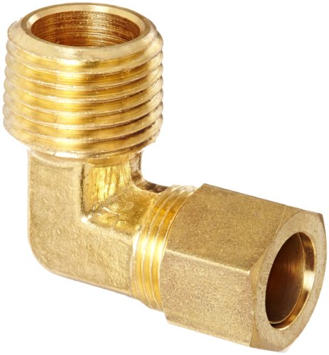 Anderson Metals 50069 Brass Compression Tube Fitting, 90 Degree Elbow, 1/2