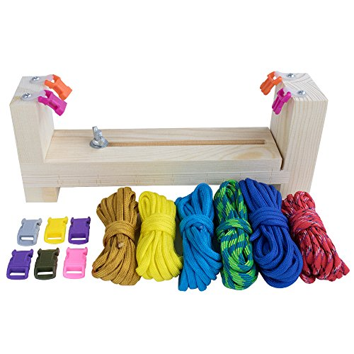 Craft County Adjustable Jig Bracelet Maker Pack Kit – 550 Paracord and Buckles Included – Wristband Maker Parachute Cord Weaving Braiding DIY Crafting Tool – Wooden Base -