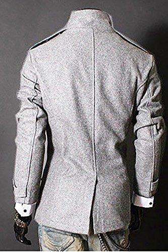 Fit Classico Vintage Cappotto Doppio Giacche Petto Slim Chiaro Uomo Trench Moda Grigio gtqWS8dwxW